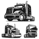 Truck SET black and white vector illustration Stock Photography