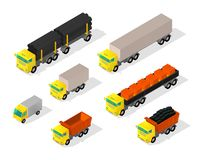 Truck set cars. Trailer delivery industry and construction. Truck with coal. Machine with pipes and bricks in the truck. Vector isometric style colorful vector illustration