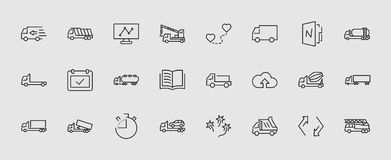 Truck Set of Transport Vector Line Icons. Contains such Icons as Truck, Transportation, Tow Truck, Cranes, Mixer royalty free illustration