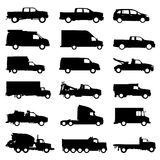 Truck set vector. Set of truck silhouettes vector Royalty Free Stock Image
