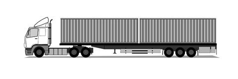 Truck with shipping containers Stock Photos
