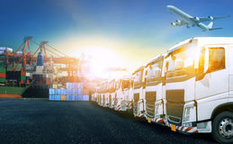 Truck in shipping port for transport and cargo logistic industry Stock Image