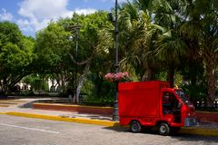 Truck on side of street in mexico. Truck on the side of the street in Mexico during the day royalty free stock photo