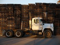 Truck: side view with stacked pallets - close Stock Photos