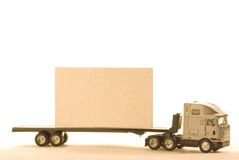 Truck sign. A truck with a billboard on the back with white background Stock Photo