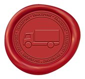 Truck Sign Wax Seal. Red Truck Sign Transport Wax Seal Royalty Free Stock Photography