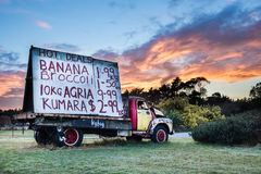 Truck Signage. One old truck now used for advertising fruit and vegetable prices Stock Image