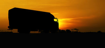 Truck in silhouette Stock Photo