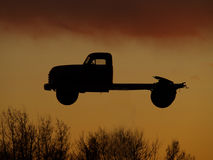 Truck silhouette. Flying truck ready for Halloween night Royalty Free Stock Images