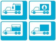 Truck silhouette - cargo water carter. Set truck silhouette - cargo water carter symbol royalty free illustration
