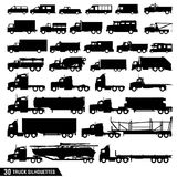 Truck Silhouettes Pack, Set of Truck Icons vector illustration