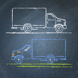 Truck sketch on chalkboard Royalty Free Stock Photos
