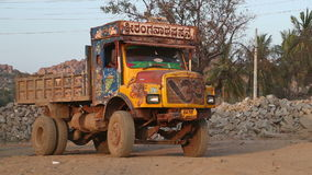 Truck slowly moving backwards in indian village Hampi. stock video footage