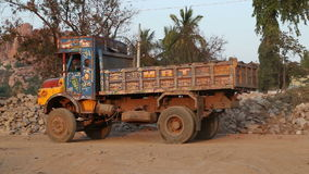 Truck slowly moving backwards in indian village Hampi. stock video