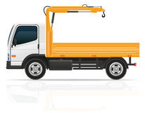 Truck with a small crane for construction vector illustration. Isolated on white background Stock Images