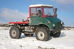 Truck on snow. Truck standing on snow in Dartmoor Stock Photo