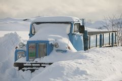 Truck is snowed in Flakstadoya Loftofen Norway Stock Images