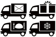 Truck with snowflake, envelope, food dish, gift bo Stock Photos
