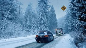 Truck With Snowplow And Cars Drive Past stock video footage