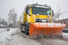 Truck with snowplow, winter service royalty free stock photography