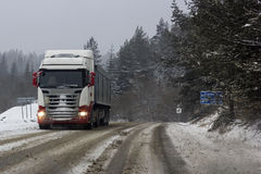 Truck on a snowy road in Slovakia Stock Photos