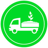 Truck with soil and sprout Royalty Free Stock Photo