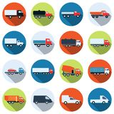 Truck and special purpose car vector icons. A set of colorful truck and special purpose car vector icons Stock Image