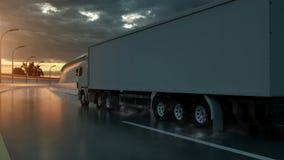 Truck speeding on the highway, side view. Transportation, shipping industry concept. 3D illustration.  vector illustration