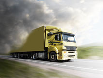 Truck speeding on highway to the light. Truck speeding on highway into the light royalty free stock photo