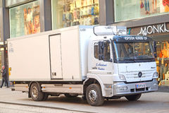 Truck stands on a street in Helsinki, Finland. Stock Image