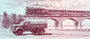 Truck and steam passenger train crossing viaduct. On 5 leke 1976 banknote from Albania stock images