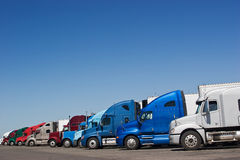 Truck Stop. Multiple trucks stop at a truck stop to rest stock photos