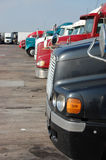 Truck Stop Parking. This is where we get our rest from the big road. Considered a safe haven when on the road. A driver can clean up and eat here Stock Photo