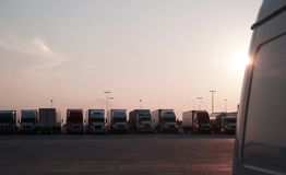 Truck stop sunset stock images