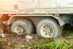Truck stuck in the mud. Wheels in the mud Stock Images