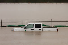 Truck Submerged in Flood Water Royalty Free Stock Photos