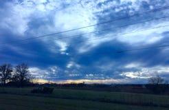 Truck sunset. Blue sky sunset stock image