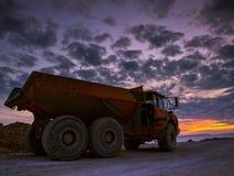 Truck on sunset 2 stock photo