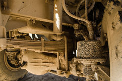 Truck suspension. Military truck suspension with leaf spring Royalty Free Stock Images