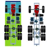 Truck suspension, top view. Vector Illustration Royalty Free Stock Photography