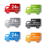 Truck symbols - delivery within 24 hours and free delivery Royalty Free Stock Image