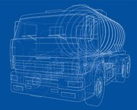 Truck with tank concept. Vector Stock Photo