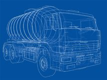 Truck with tank concept. Vector Royalty Free Stock Image