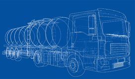 Truck with tank concept. Vector Royalty Free Stock Photo