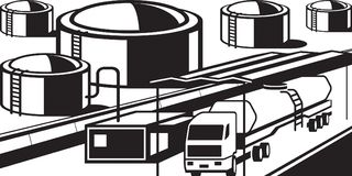 Truck tank loading fuels from petroleum base. Vector illustration Royalty Free Stock Images