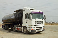 Truck with a tank for the transport of petroleum products Stock Images