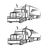 Truck and tank truck. Monochrome set of a truck with trailer and tank truck Stock Image