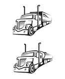 Truck and tank truck. Monochrome set of a truck with trailer and tank truck Royalty Free Stock Image
