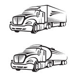 Truck and tank truck. Monochrome set of a truck with trailer and tank truck Royalty Free Stock Images