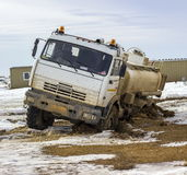 Truck tanker. Tanker truck fell into the ground thawed. Southern Kazakhstan, Betpakdala Royalty Free Stock Image